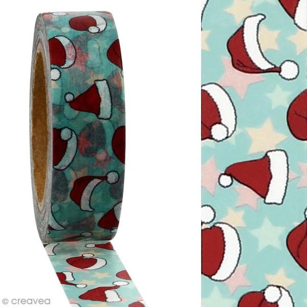 Masking tape Chapeaux de Noël sur fond bleu clair - 1,5 cm x 10 m - Photo n°2