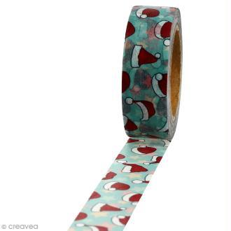 Masking tape Chapeaux de Noël sur fond bleu clair - 1,5 cm x 10 m