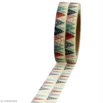 Masking tape Sapins triangles colorés sur fond blanc - 1,5 cm x 10 m