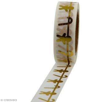 Masking tape Sucreries de Noël dorées sur fond blanc - 1,5 cm x 10 m