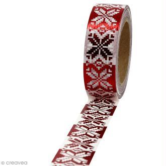 Masking tape Broderie de Noël rouge et blanche - 1,5 cm x 10 m