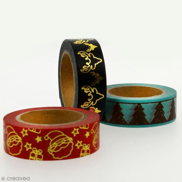 Masking tape Ho Ho Ho blanc sur fond rouge - 1,5 cm x 10 m - Photo n°4