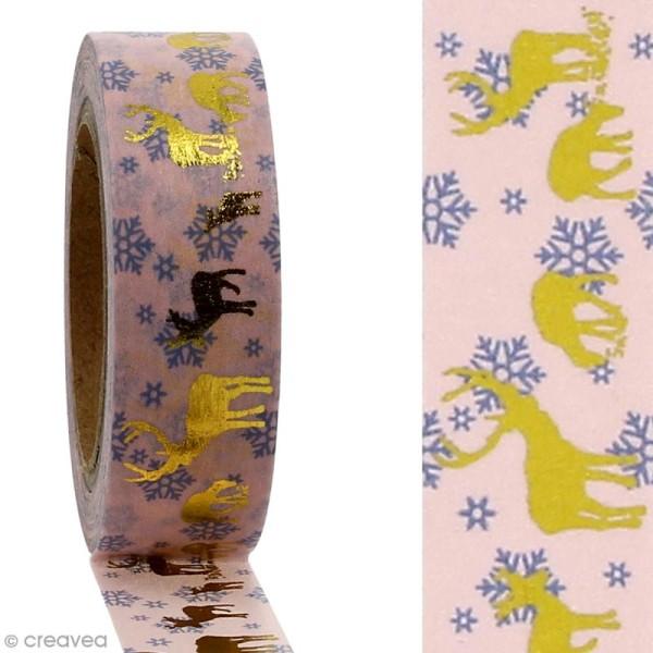 Masking tape Cerfs dorés sur fond rose clair - 1,5 cm x 10 m - Photo n°2