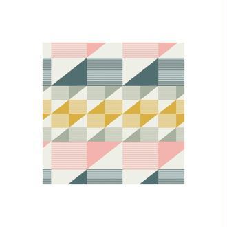 Coton imprimé prenium aux formes géométriques petrole, rose et moutarde x25cm