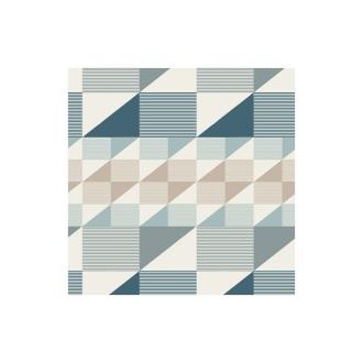 Coton imprimé prenium aux formes géométriques petrole, taupe et menthe x25cm