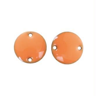 2 Breloque Bonnecteur Sequin Rond Orange Emaillé 12mm
