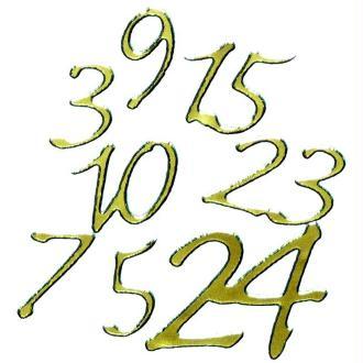 Autocollants Peel off Chiffres calendrier de l'avent or