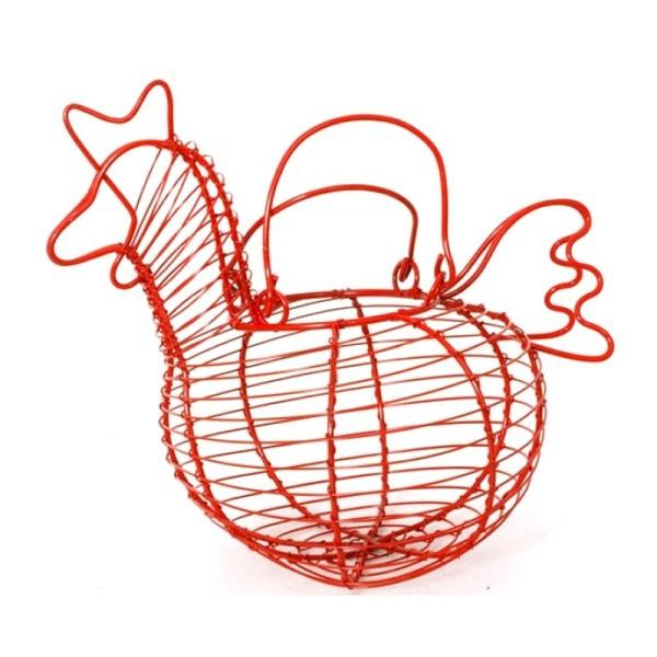 Panier en Métal en forme de poule rouge 19x14x16 cm rustique et champêtre - Photo n°1