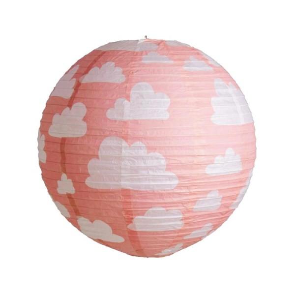 Lanterne japonaise couleur Corail à Nuages, boule chinoise de 35 cm en papier, à suspendre pour anni - Photo n°1