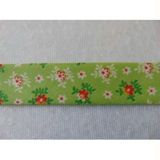 Biais liberty fleurs / fond vert