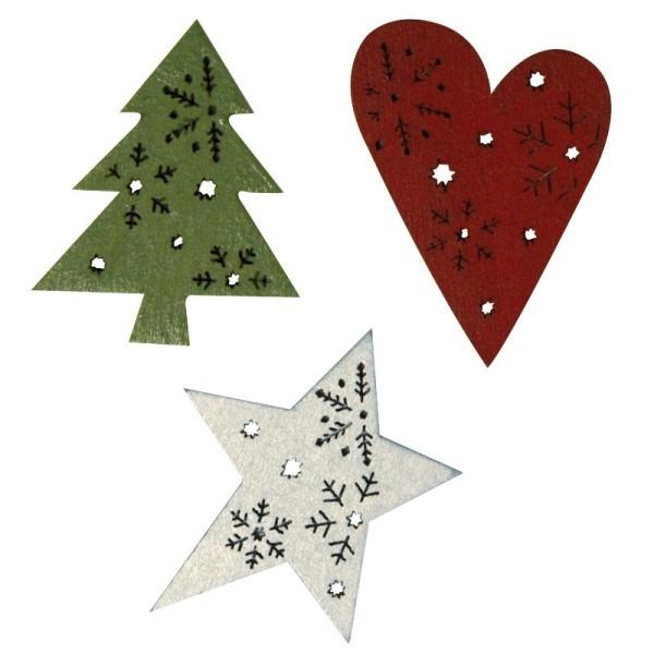 Ornements de Noël en bois peint 4 cm - Lot de 6 - Photo n°1