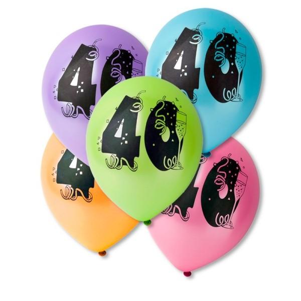 Lot de 10 Ballons de baudruche sérigraphiés 40 ans, Diam. 28 cm , pour déco anniversaire - Photo n°1
