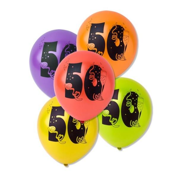 Lot de 10 Ballons de baudruche sérigraphiés 50 ans, Diam. 28 cm , pour déco anniversaire - Photo n°1