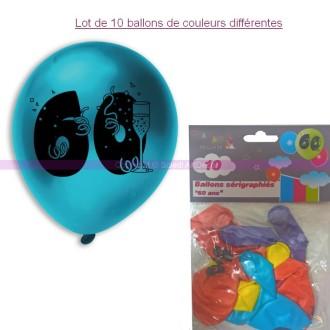 Lot de 10 Ballons de baudruche sérigraphiés 60 ans, Diam. 28 cm , pour déco ann