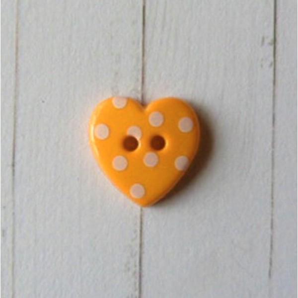 Bouton coeur rose à pois 15mm lot de 10 boutons scapbooking couture