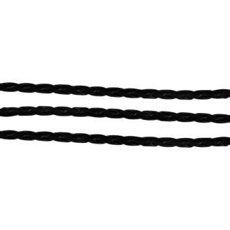 Cordon bijoux tressé simili cuir 5 mm noir - 1,5 mètres