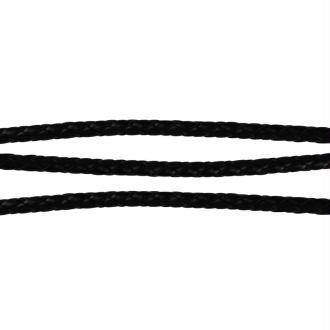 Cordon bijoux tressé simili cuir 6 mm noir - 1,5 mètres