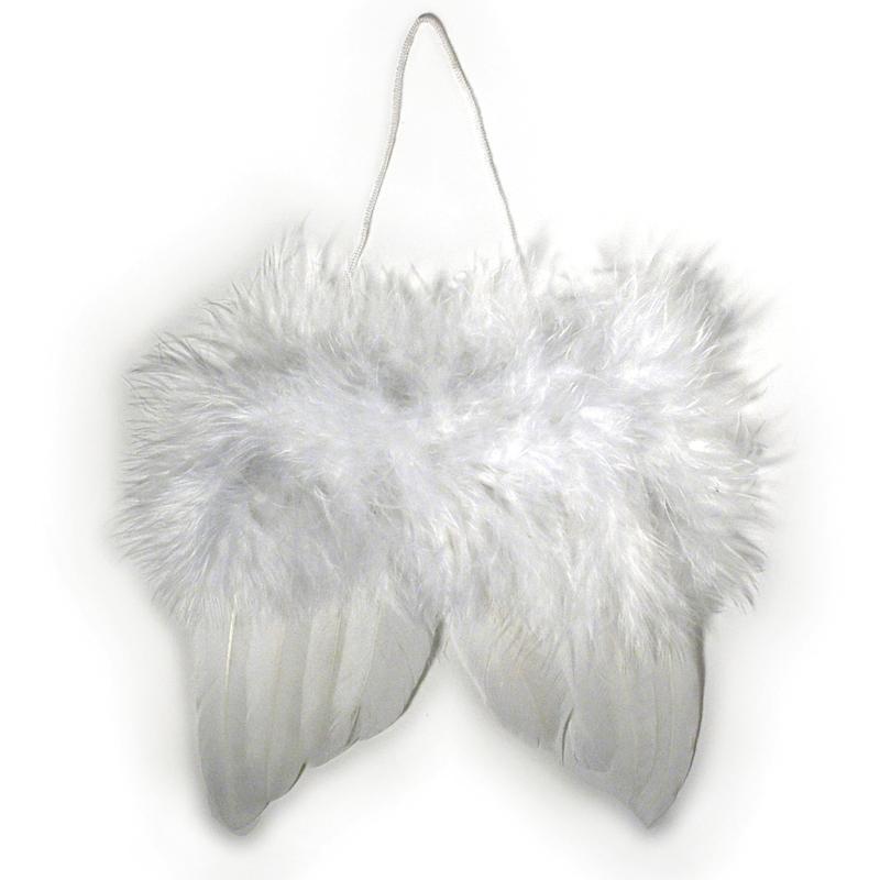 ailes d 39 ange en plumes 5 cm suspendre blanches lot de 2 ailes d 39 ange creavea. Black Bedroom Furniture Sets. Home Design Ideas