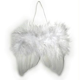 Ailes d'ange en plumes 5 cm à suspendre blanches - Lot de 2