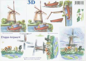 Feuille 3D à découper A4 Paysage Moulin