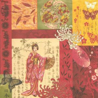 4 Serviettes en papier Scène d'Asie Geisha Format Lunch
