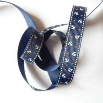 2 m de ruban polyester 1.5 cm couture scrapbooking décoration LA MARINE