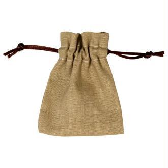 Sachets cadeau en lin beige 10 x 7,5 cm - 4 pièces