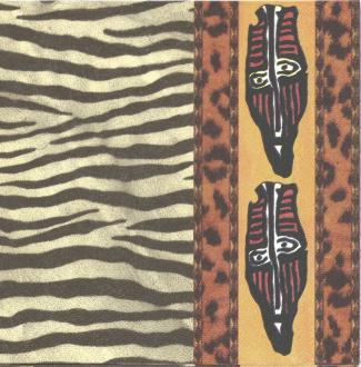 4 Serviettes en papier Masques Afrique Format Lunch