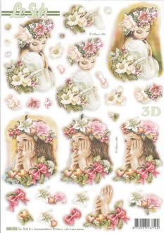 Feuille 3D pré-découpée A4 Fille Couronne Fleurs
