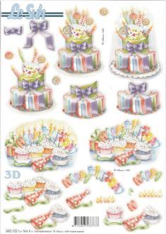Feuille 3D pré-découpée A4 Anniversaire Gâteau
