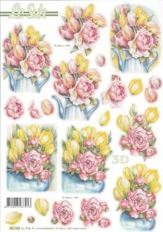 Feuille 3D pré-découpée A4 Bouquet Tulipes Roses