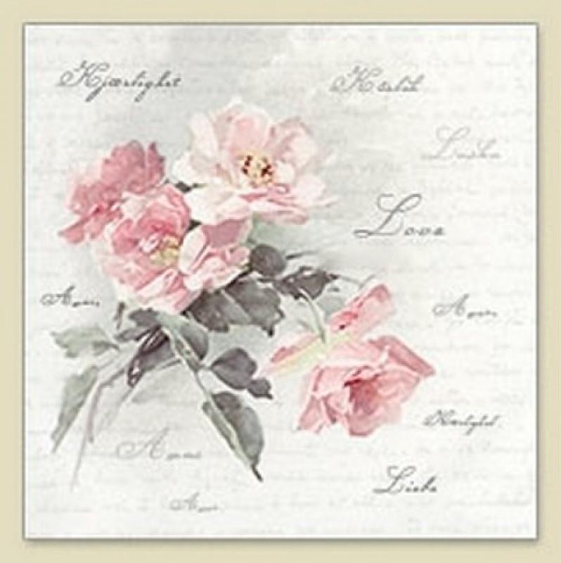4 serviettes en papier d coupage collage 33 cm vintage rose ecriture love serviette en papier. Black Bedroom Furniture Sets. Home Design Ideas