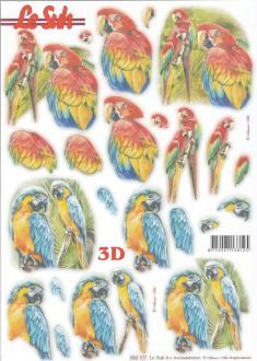 Feuille 3D pré-découpée A4 Perroquet Ara