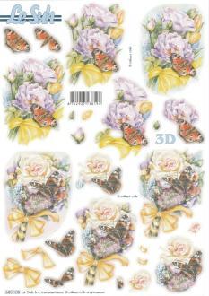 Feuille 3D pré-découpée A4 Fleur Papillon