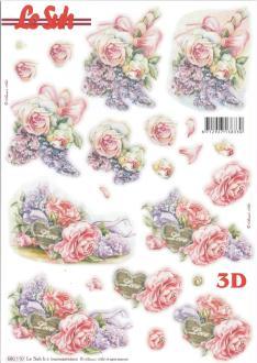 Feuille 3D pré-découpée A4 Fleurs Roses
