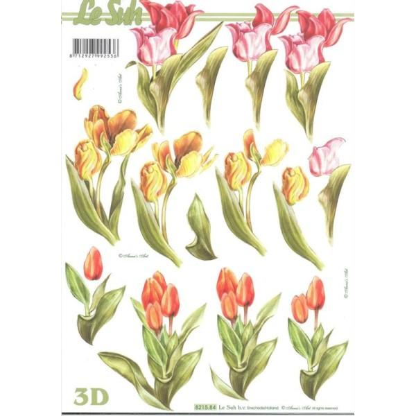 Feuille 3D à découper A4 Tulipes - Photo n°1