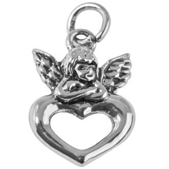 Pendentif breloque Ange avec coeur en métal 15 mm