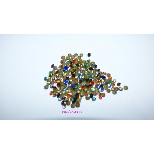 2gr Strass Facette Dos Pointe Multicolore 2.4mm - Photo n°1