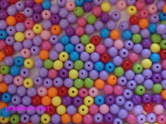 50 Perles Ronde Acrylique Thons Violet 6mm