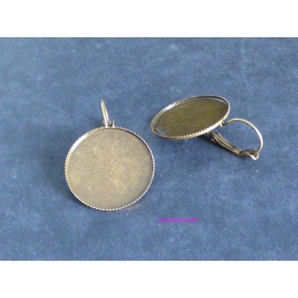 2 Supports Boucle D'Oreille Bronze Pour Cabochon 25mm - Photo n°1
