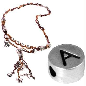 Perle alphabet A en métal