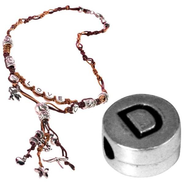 Perle alphabet D en métal - Photo n°1