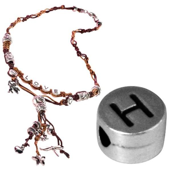 Perle alphabet H en métal - Photo n°1