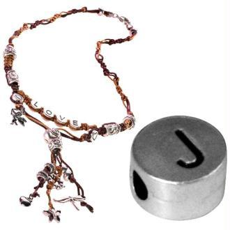 Perle alphabet J en métal