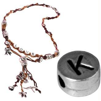 Perle alphabet K en métal
