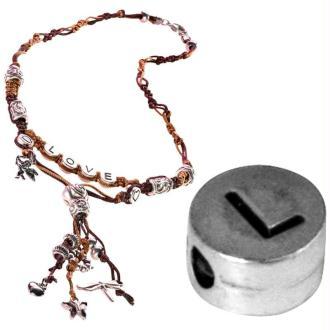 Perle alphabet L en métal