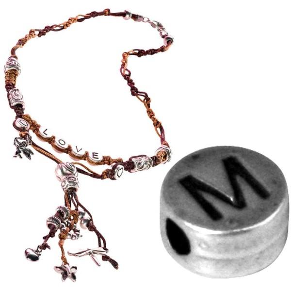 Perle alphabet M en métal - Photo n°1