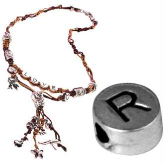 Perle alphabet R en métal