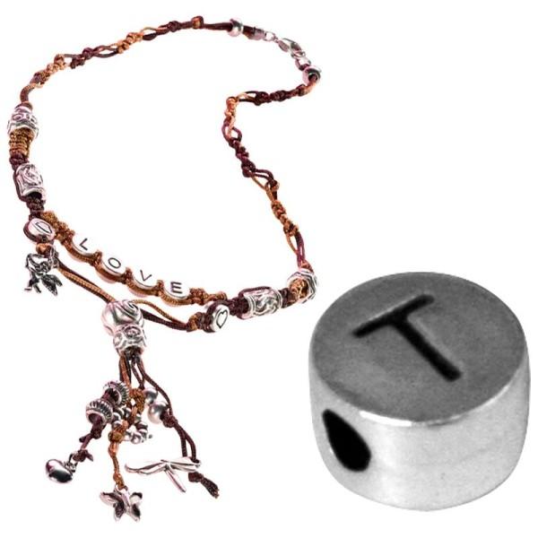 Perle alphabet T en métal - Photo n°1