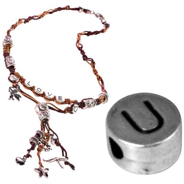 Perle alphabet U en métal - Photo n°1